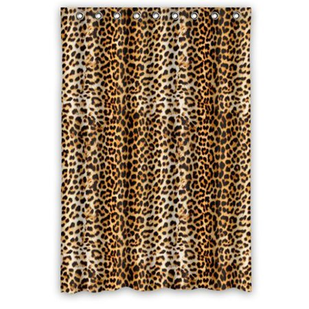 GreenDecor Cool Leopard Animal Art Printed Waterproof Shower Curtain Set with Hooks Bathroom Accessories Size 48x72 inches ()