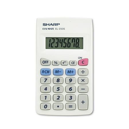sharp calculator. sharp el233sb pocket calculator, 8-digit lcd calculator m