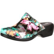 4EurSole Work Shoes Womens Patent Print Clog Water Lily RKH054