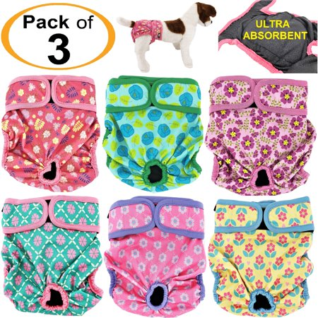 """PACK of 3 Female Dog Diapers with 4 LAYERS of Absorbent Pads WATERPROOF Leak Proof Washable sz XS waist 8"""" - 12"""""""