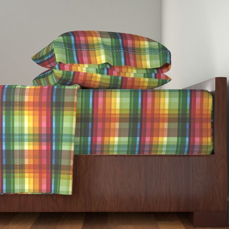 Pride Rainbow Summer Madras Rainbow 100% Cotton Sateen Sheet Set by Roostery