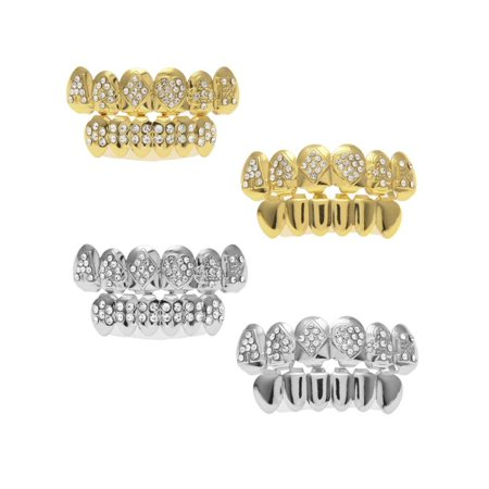 1 Set Gold Silver Hip Hop Teeth Grillz Top & Bottom Grill Teeth Grills - Fake Teeth Grillz