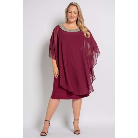 R&M Richards Short Mother of the Bride Plus Size Chiffon Overlay Dress