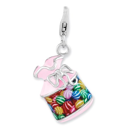 Sterling Silver Enameled 3-d Candy Jar With Lobster Clasp Charm - 5.1 Grams - Candy Charm