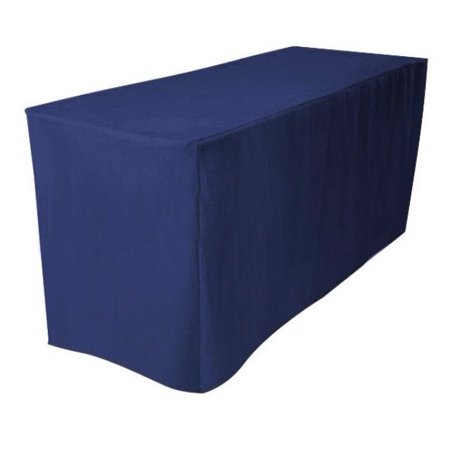 8 39 ft fitted polyester tablecloth trade show booth wedding dj table cover navy. Black Bedroom Furniture Sets. Home Design Ideas