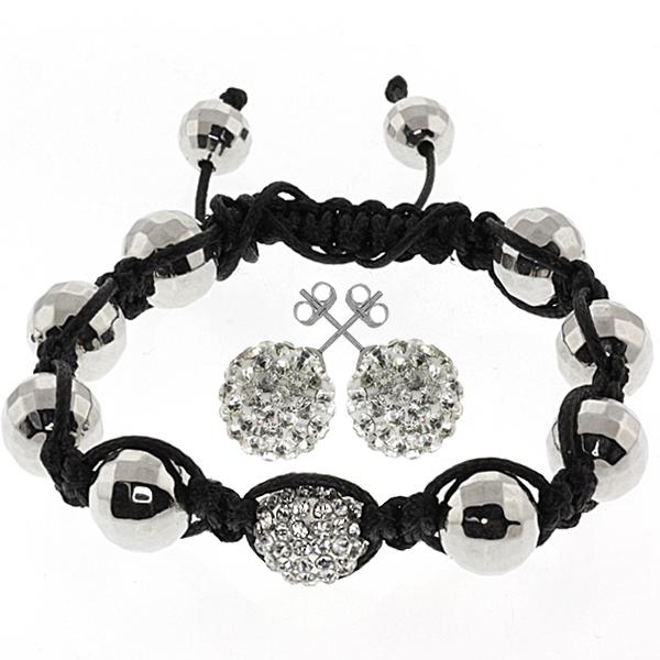 10mm Round White Pave Disco Ball Dia-Cut Adjustable Bracelet & 12mm Earrings Set