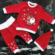 3PCS Newborn Baby Boy Girl Christmas Santa Claus Clothes Tops T-shirt Pants Hat Outfits Age For 0-18 Months
