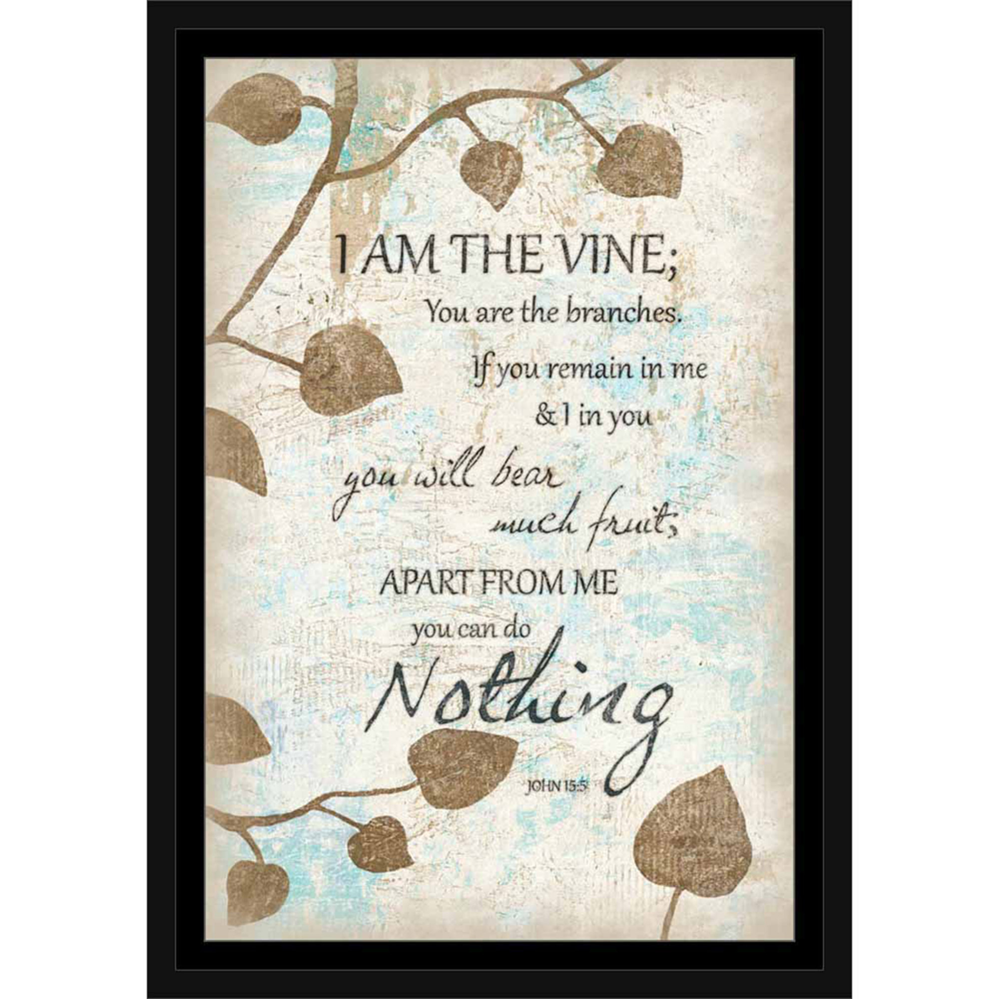 You Are The Branches Nature Burlap Texture Leaves Vines Religious Painting Tan & Blue,... by Circle Graphics