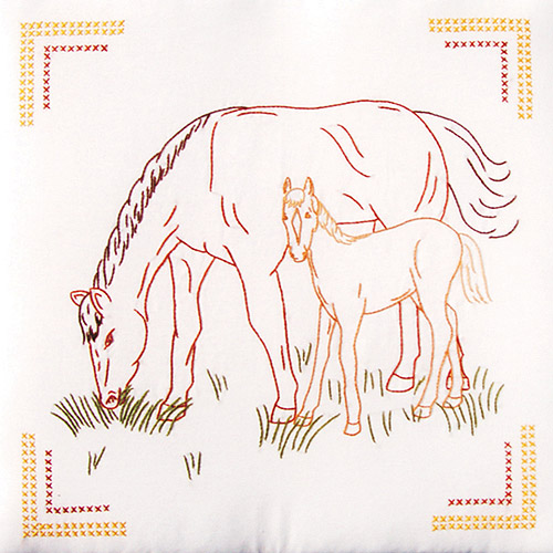 "Jack Dempsey Colt And Mare Stamped White Quilt Blocks, 18"" x 18"""