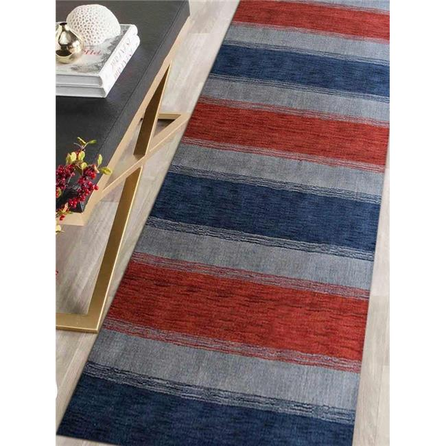 3 x 5 ft. Hand Knotted Loom Woolen Area Rug, Blue & Light Blue - Contemporary - image 1 of 1