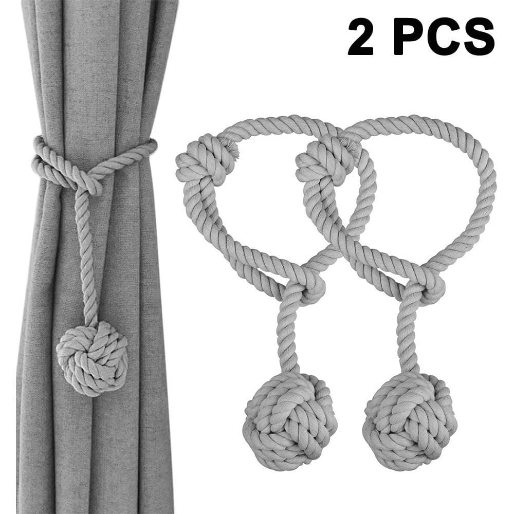 1 Pair Home Curtain Tiebacks Hand Knitting Cord Rope Holdbacks Decorative Window Curtain Tie Drapery Tie Back With Single Ball Gray Walmart Com Walmart Com