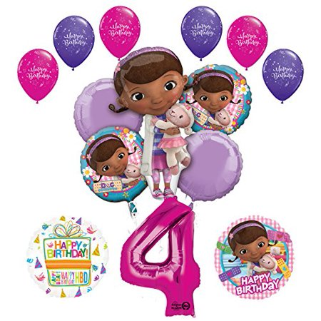 Doc McStuffins 4th Birthday Party Supplies and Balloon Bouquet