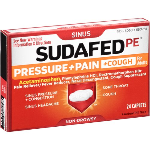 Sudafed PE Pressure + Pain + Cough for Adults Caplets - 24ct