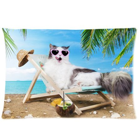 ZKGK Palm Tree Sea Beach Cat Pillowcase Standard Size 20 X 30 Inches For Couch Bed