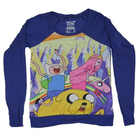 Adventure Time Girls Juniors  Light  Sweatshirt - Jake, Finn & Princess Fun - Adventure Time Finn Jake Costumes Halloween