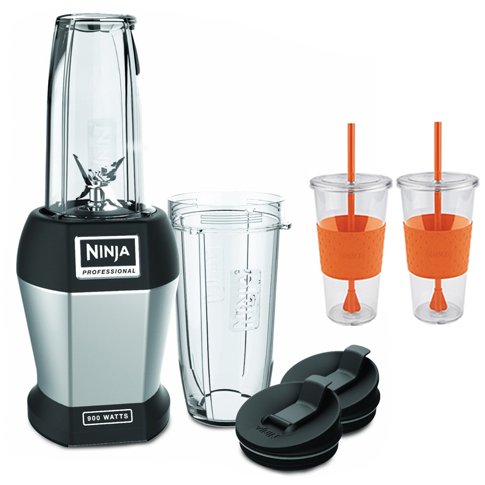 Ninja BL451 Pro Deluxe 900-watt Table Top Blender With 2 x Copco Eco First Tumbler 24 Ounce Togo Cup Mug - Orange