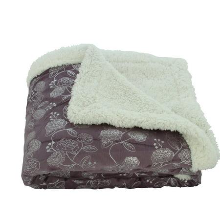 Lush Elegance Silver Rose Reversible Sherpa Throw Blanket (50