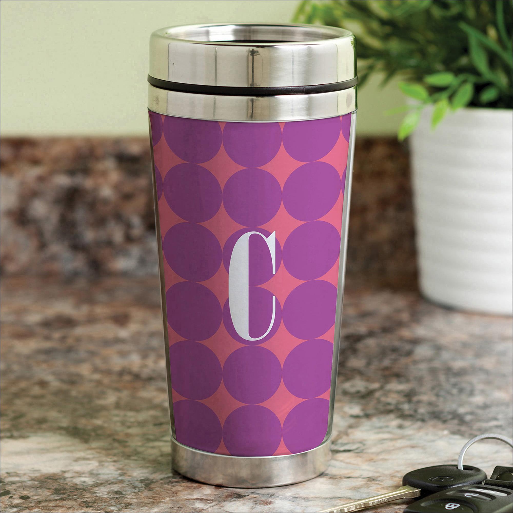 Personalized Purple Polka Dots Travel Mug