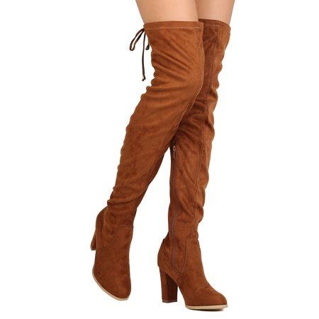 eef7068d1606c Women Faux Suede Thigh High Chunky Heel Drawstring Boot FI91