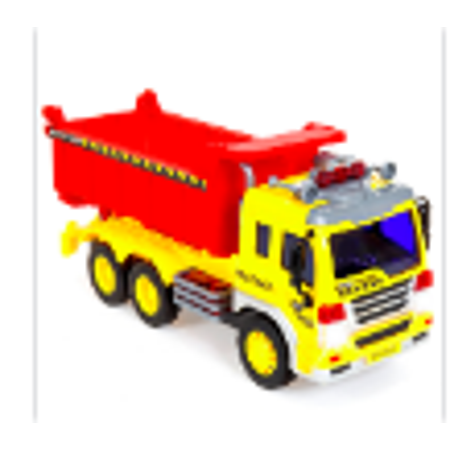 1/16 Scale Friction Powered Toy Dump Truck w/ Lights and