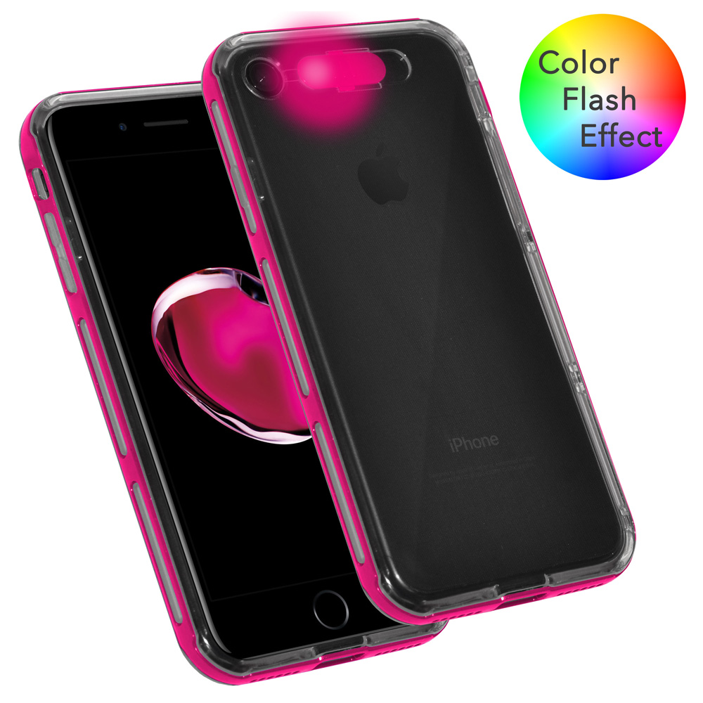 iPhone 7 Case, Dual Layer Slim Protective Bumper Cover Clear Back Case with Color Flash Effect for iPhone 7 - Clear/ Pink