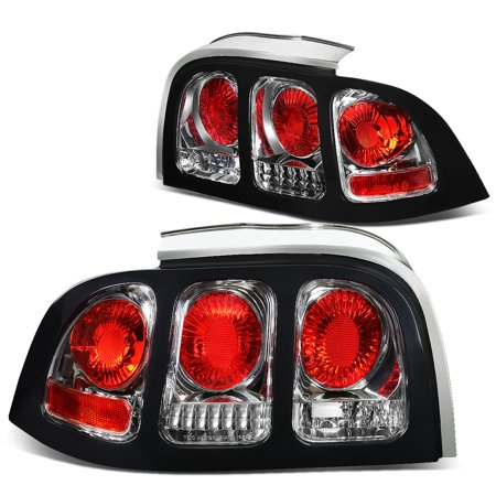 For 1994 to 1998 Ford Mustang SN95 Pair of Chrome Housing Altezza Tail Brake Lights 00 01 02