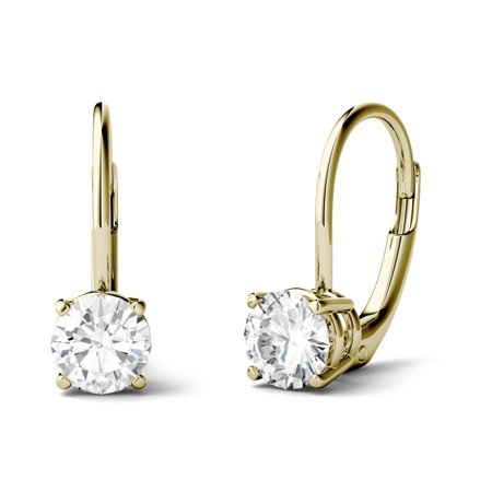 14K Yellow Gold Moissanite Solitaire Leverback Earrings 1.00 DEW