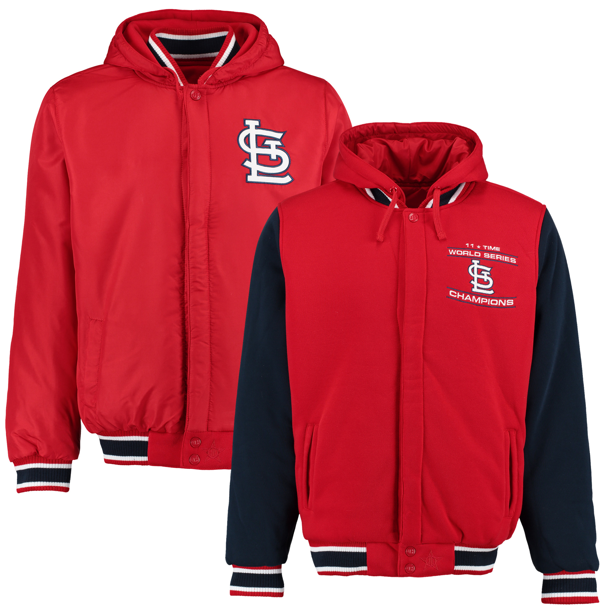 St. Louis Cardinals JH Design World Series Champions Commemorative Reversible Jacket - Red/Navy