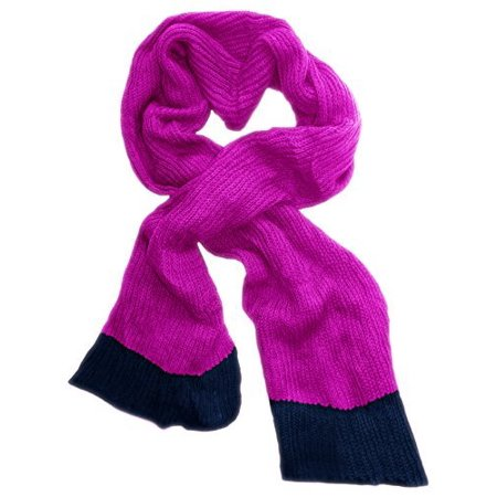 Peach Couture Loose Border Hand Knit Warm Scarf Hot Pink and Navy Blue