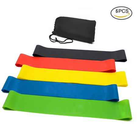 RUNACC 5PCS Latex Resistance Bands Durable Workout Loops Portable Training Stretch Bands with Storage Bag, Suitable for Dance, Yoga and Pilates Exercise