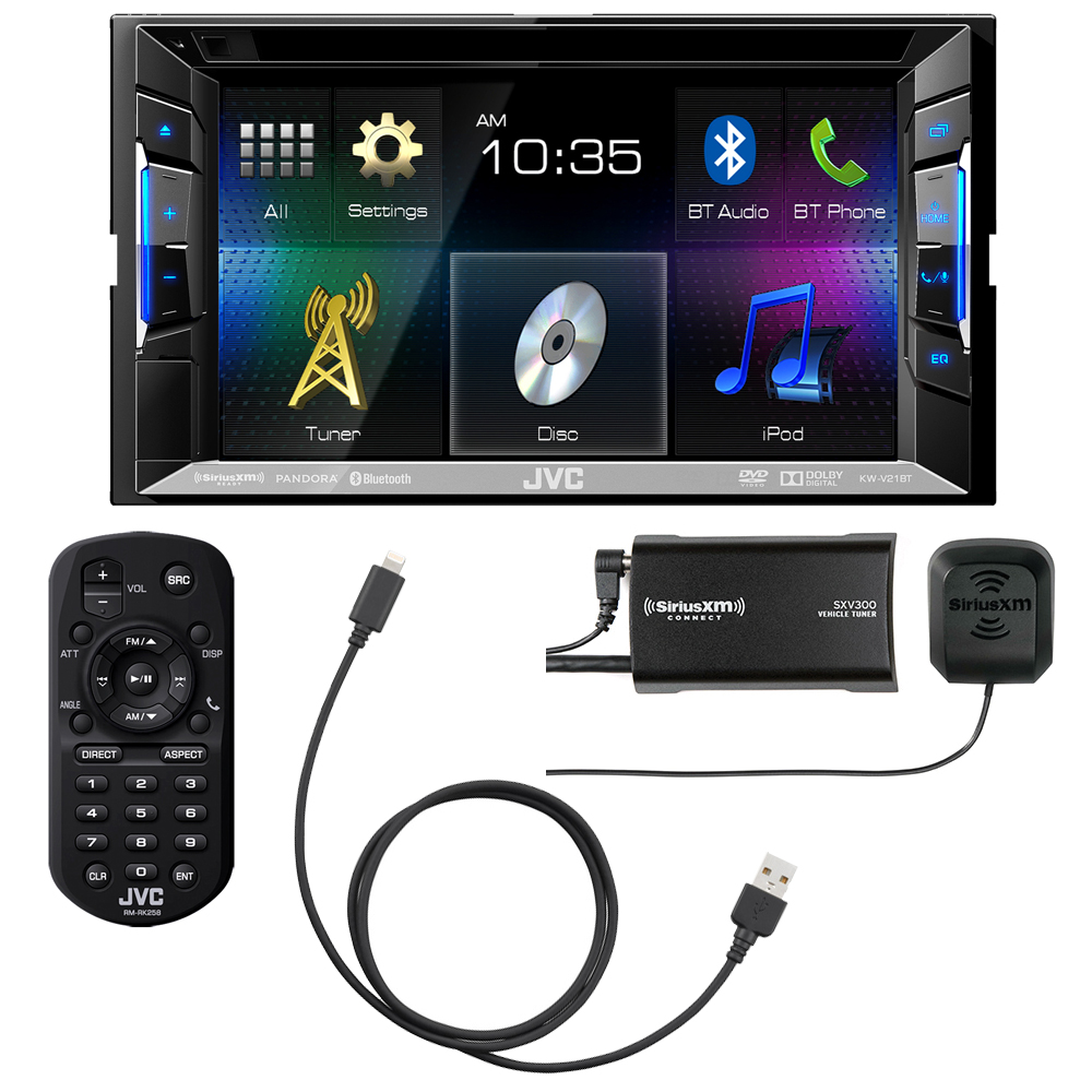 JVC KWV21BT with Sirius XM SXV300V1 Tuner pack kit also included KSU62 USB to Lighting cable for iPhone 5 and Newer by JVC