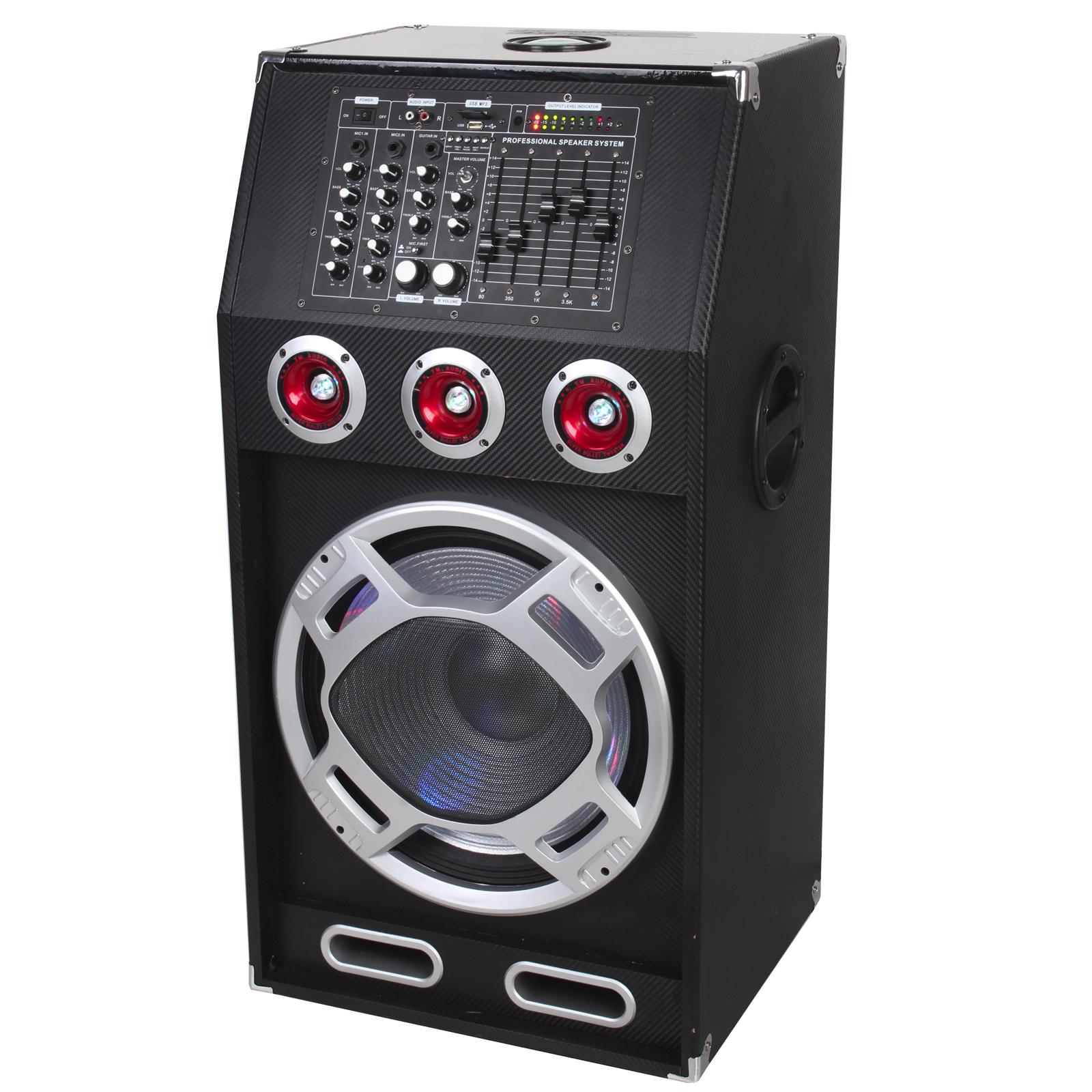 "Supersonic 15"" Professional Active Speaker with Bluetooth, USB/SD/MIC Inputs and FM Radio"