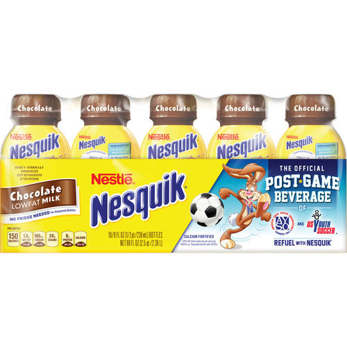 NESTLE NESQUIK Chocolate Flavored Low Fat Milk 10-8 fl. oz. Plastic Bottles