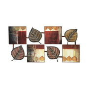 Decmode Natural 24 X 47 Inch Multicolored Metal and Wood Leaf Wall Decor