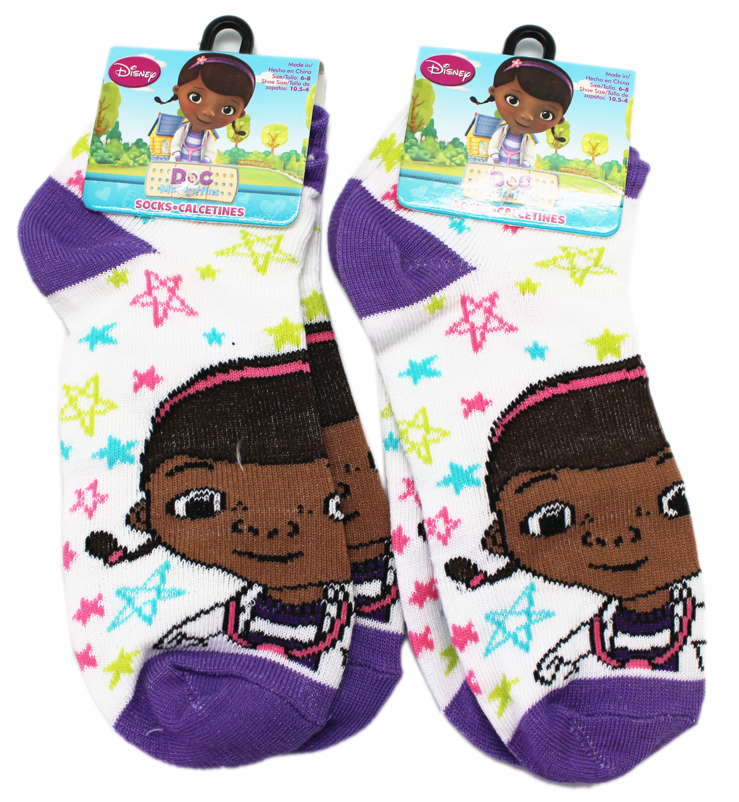 Disney's Colorful Stars Violet Toe Kids Socks (Size 6-8, 2 Pairs)