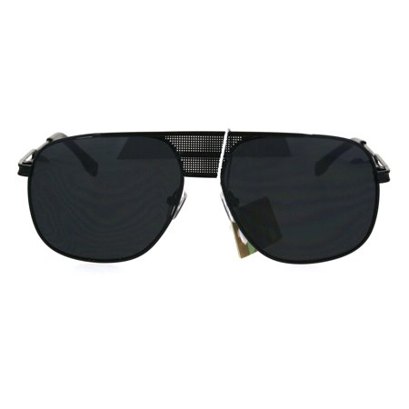 Mens Oversize Retro Vintage Style Fashion Aviator Mobster Sunglasses All Black](1920s Mobster Fashion)