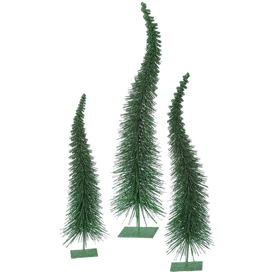 "Vickerman 18""-22""-26"" Emerald Glit Curved Tree 3-Piece Set"