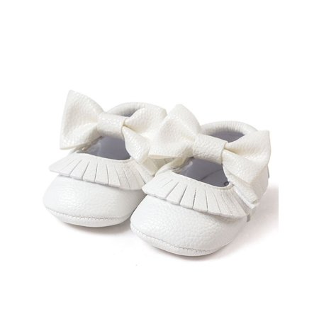 Nicesee Baby Girl Bowknot Tassel Shoes Leather (Gold Leather Footwear)