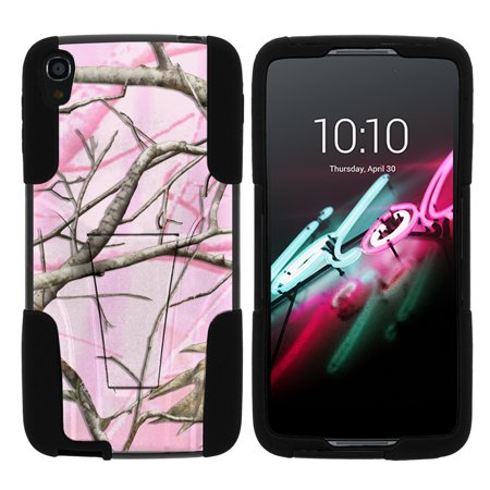 "Alcatel Idol 3 5.5"" STRIKE IMPACT Dual Layered Shock Resistant Case with Built-In Kickstand by Miniturtle® - Pink Hunters Camo"