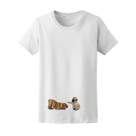 Pug And English Bulldog Pup Play Tee Women's -Image by (English Bulldogs For Sale In Washington State)