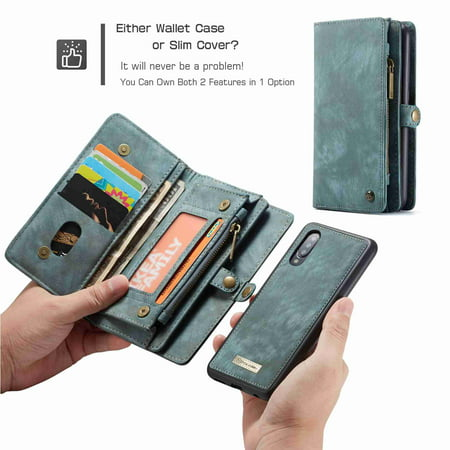 For Samsung Galaxy A50 (6.4 inch) Wallet Detachable Case, Multi-functional Folio Flip Leather Removable Magnetic Back Cover, green Removable Battery Case
