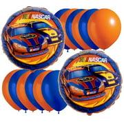 nascar full throttle party balloon package - includes 2 mylar 6 blue & 6 orange latex