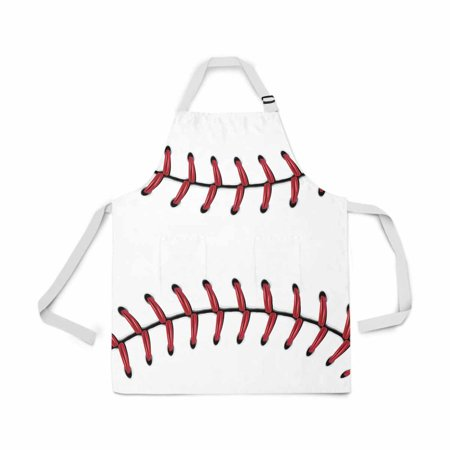ASHLEIGH Softball Baseball Red Lace over White Adjustable Bib Apron for Women Men Girls Chef with Pockets Novelty Kitchen Apron for Cooking Baking Gardening Pet Grooming Cleaning](Softball Novelties)