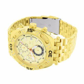 Mens Gold Tone Watch Round Face Genuine Diamond Aqua Master Stainless Steel New