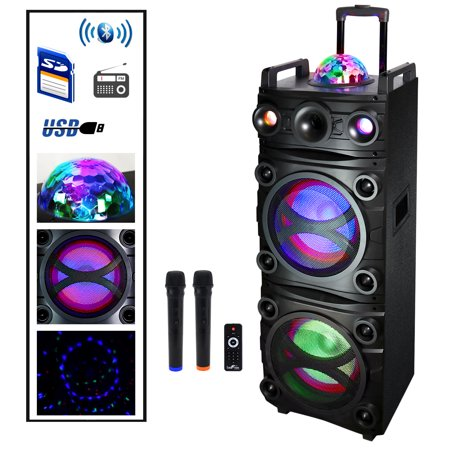 - beFree Sound Dual 10 Inch Subwoofer BT Portable Party Speaker with Sound Reactive Party Lights, Top LED Projection Dome, USB/ SD Input, BTBattery, Remote Control And 2 Wireless Microphones