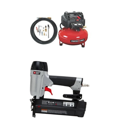PORTER-CABLE C2002-WK Oil-Free UMC Pancake Compressor with 13-Piece Accessory Kit with 2-Inch 18GA Brad Nailer... by PORTER-CABLE
