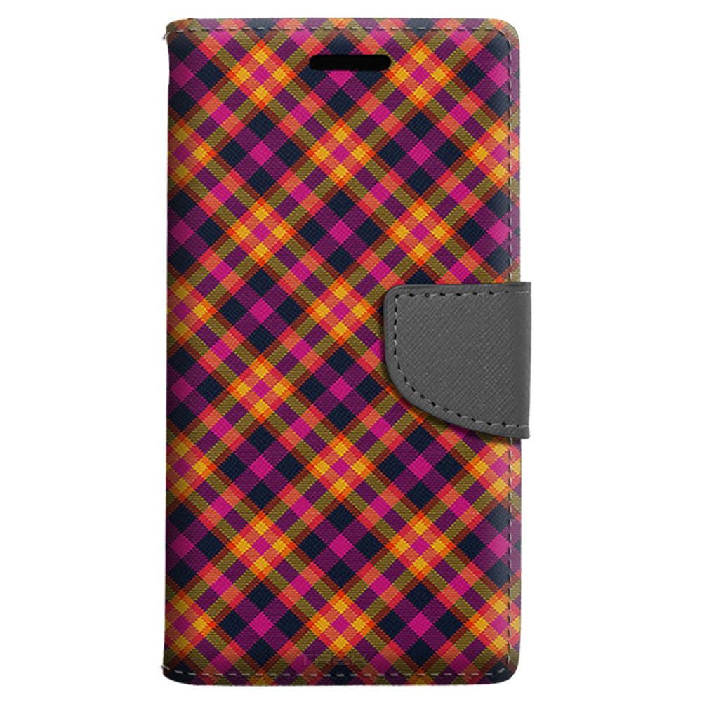 LG K6 Wallet Case - Yellow Pink Plaid Case