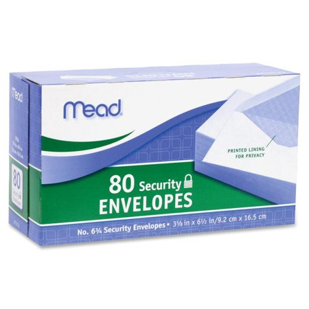 Mead #6 3/4 Security Envelopes 80 Count (75212)