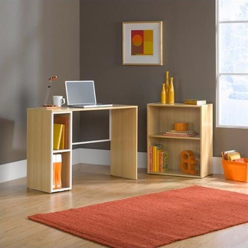 Sauder Studio Edge Treble Desk and Bookcase Value Bundle, Rice / White Oak