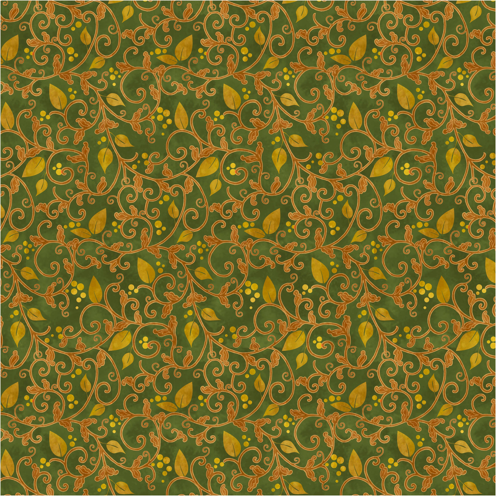 Harvest Golden Vine Moss Green Cotton By The Yard, 44""